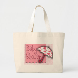 PInk Umbrella Baby Shower Jumbo Tote Bag