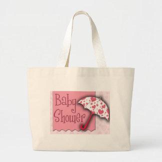 PInk Umbrella Baby Shower Jumbo Tote Bag