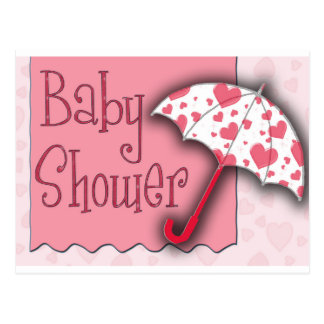 PInk Umbrella Baby Shower Postcard