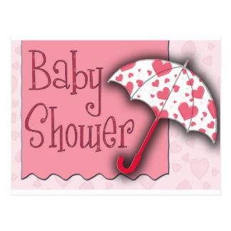 PInk Umbrella Baby Shower Postcard