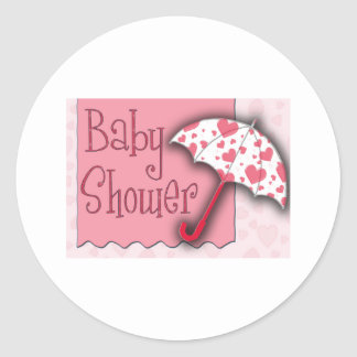 PInk Umbrella Baby Shower Round Sticker