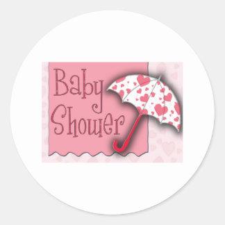 PInk Umbrella Baby Shower Round Sticker