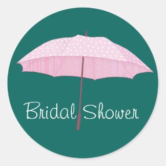 Pink Umbrella Bridal shower envelope seal Round Sticker