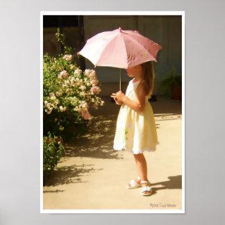 Pink Umbrella Girl Poster