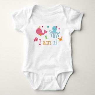 Pink Under the Sea 1st Birthday Baby Bodysuit