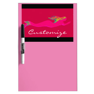 pink underwater mermaid black/pink dry erase board