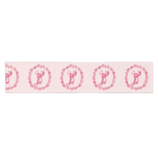 Pink unicorn and flowers short table runner