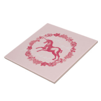 Pink unicorn and flowers tile