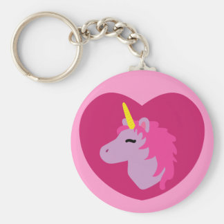 Pink Unicorn Basic Round Button Key Ring