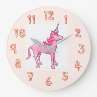 Pink Unicorn Large Clock
