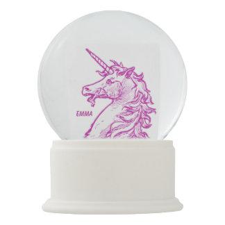 Pink Unicorn Magical Horse Add Name Snow Globe
