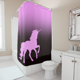 Pink unicorn on black and pink backdrop shower curtain