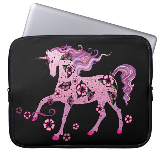Pink Unicorn on Black Laptop Sleeve
