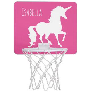 Pink Unicorn Silhouette Girly Kids Personalized Mini Basketball Hoop