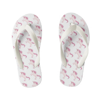 Pink unicorn unique flip flops, cute and playful kid's thongs