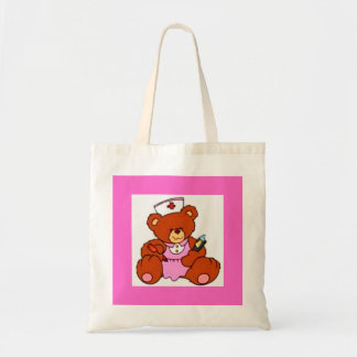 Pink Uniform Nurse Teddy Bear Tote Bag