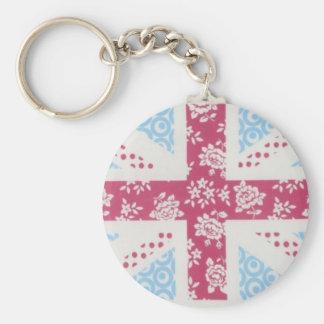 pink union jack basic round button key ring