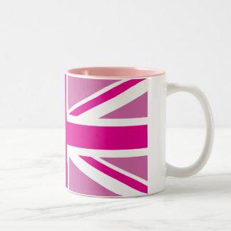 Pink Union Jack British Flag Two-Tone Mugs