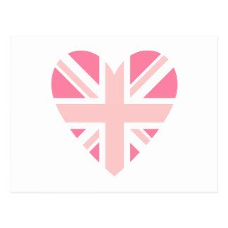 Pink Union Jack/Flag Heart Postcard
