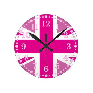 Pink Union Jack UK Flag Wall Clock