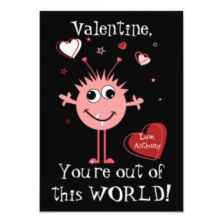 Pink Valentine Alien Monster Card 13 Cm X 18 Cm Invitation Card