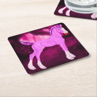 Pink Valentine Draft Horse Foal Print Square Paper Coaster