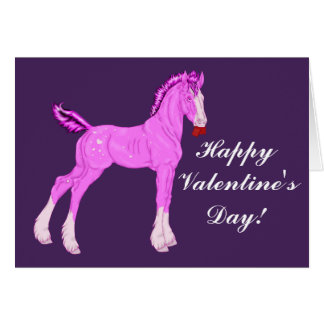 Pink Valentine Draught   Horse Foal Card