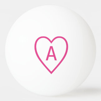 Pink Valentine Heart Outline with Monogram Initial Ping Pong Ball