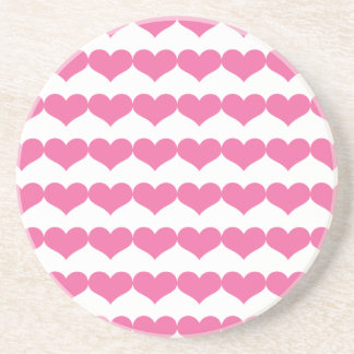 Pink Valentine Hearts Pattern Coasters