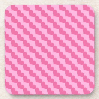Pink Valentine Hearts Pattern on Lighter Pink Coasters