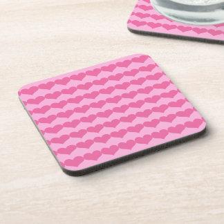 Pink Valentine Hearts Pattern on Lighter Pink Drink Coasters