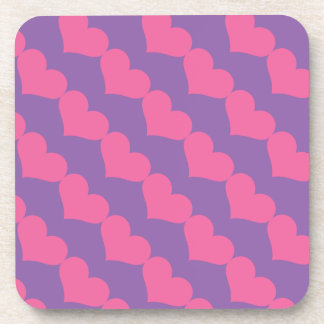 Pink Valentine Hearts Pattern on Purple Beverage Coasters