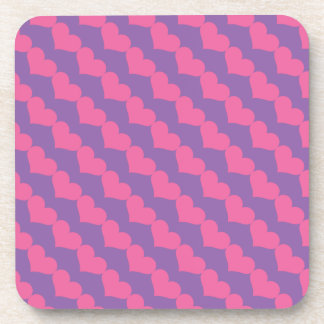 Pink Valentine Hearts Pattern on Purple Coaster