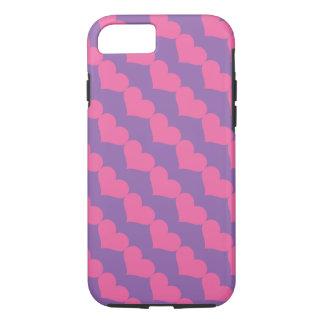 Pink Valentine Hearts Pattern on Purple iPhone 7 Case