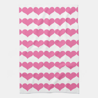 Pink Valentine Hearts Pattern Hand Towel