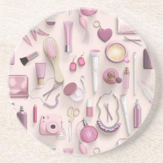 Pink Vanity Table Beverage Coaster