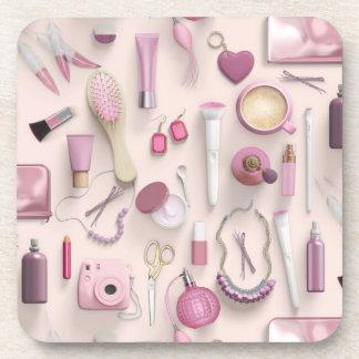 Pink Vanity Table Drink Coasters