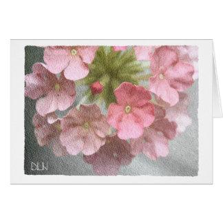 Pink Verbena/Floral  Art/Watercolor Look Card