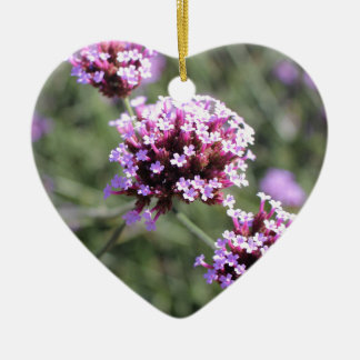Pink Verbena Flower Sprig I Love You Heart Ceramic Heart Decoration