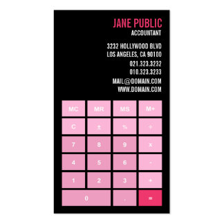 Pink Version Accountant Calculator Pack Of Standard Business Cards