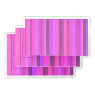 Pink vertical stripes acrylic tray
