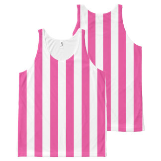 Pink Vertical Stripes All-Over Print Tank Top
