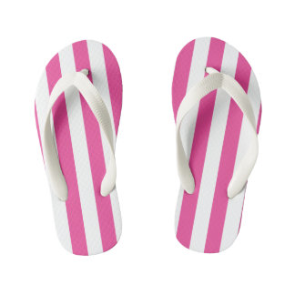 Pink Vertical Stripes Kid's Thongs