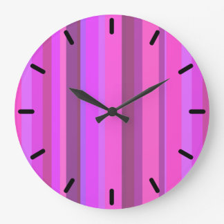 Pink vertical stripes large clock