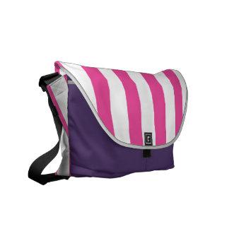 Pink Vertical Stripes Messenger Bag