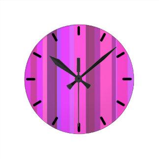 Pink vertical stripes round clock