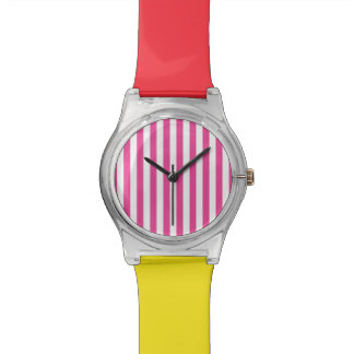 Pink Vertical Stripes Watch