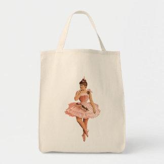 Pink Victorian Ballerina Grocery Tote Bag
