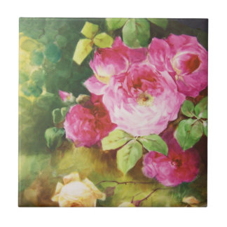 Pink Victorian Rose Ceramic Tile