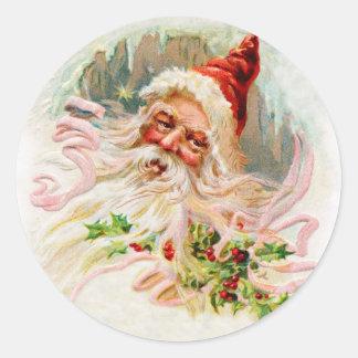 Pink Victorian Santa Classic Round Sticker